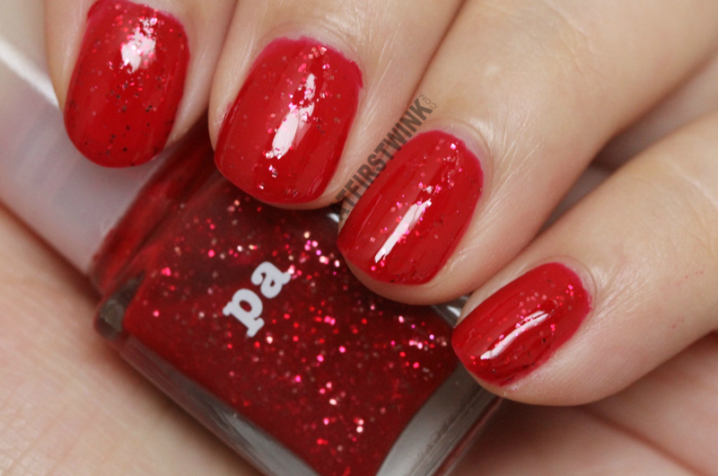 Pa Nail Color A81 nail polish red jelly glossy gold fuchsia pink red glitters swatch