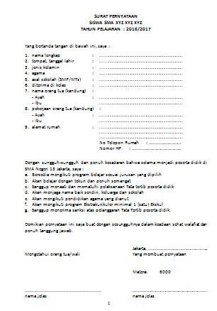 Surat pernyataan Siswa Peserta Didik