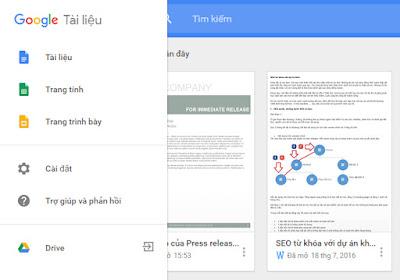 Tạo tài liệu trên google docs
