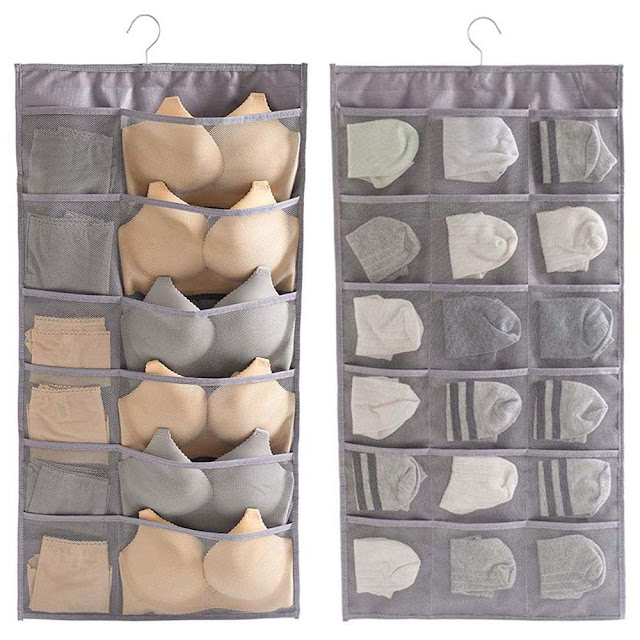 Hanging bag storage showing bras and underwear in the pockets