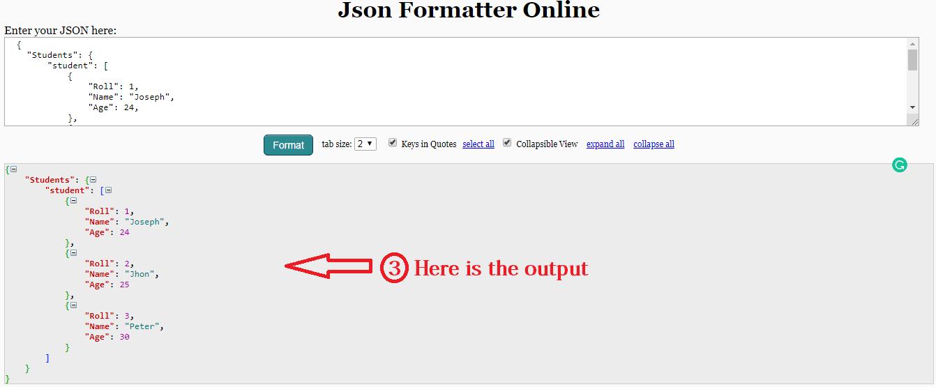 json file formatter