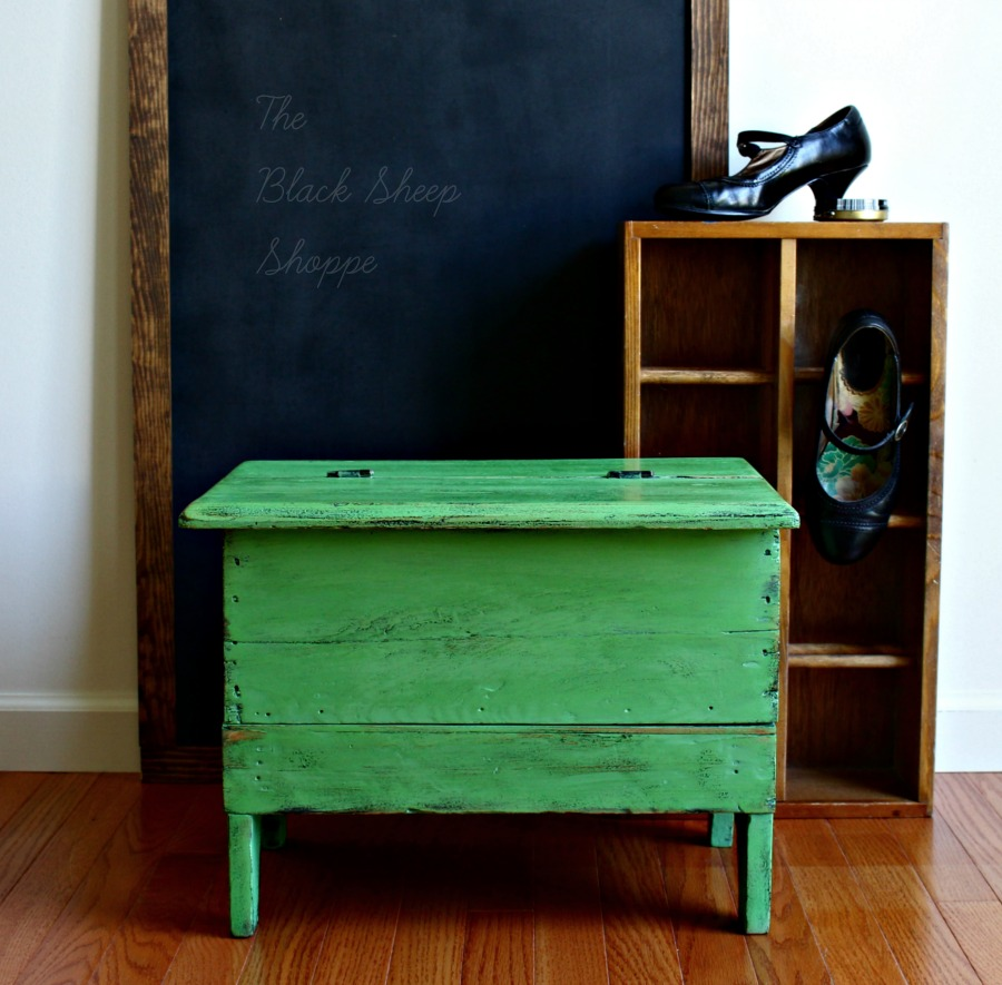 Antique shoe shine box painted in Antibes Green.