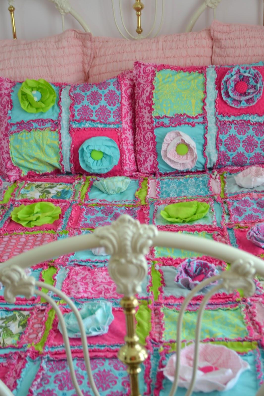 Ruffle Flower Queen Size Bed Set for Little Girl