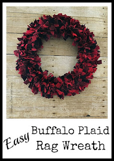 Vintage, Paint and more... easy fabric rag wreath made with buffalo plaid flannel