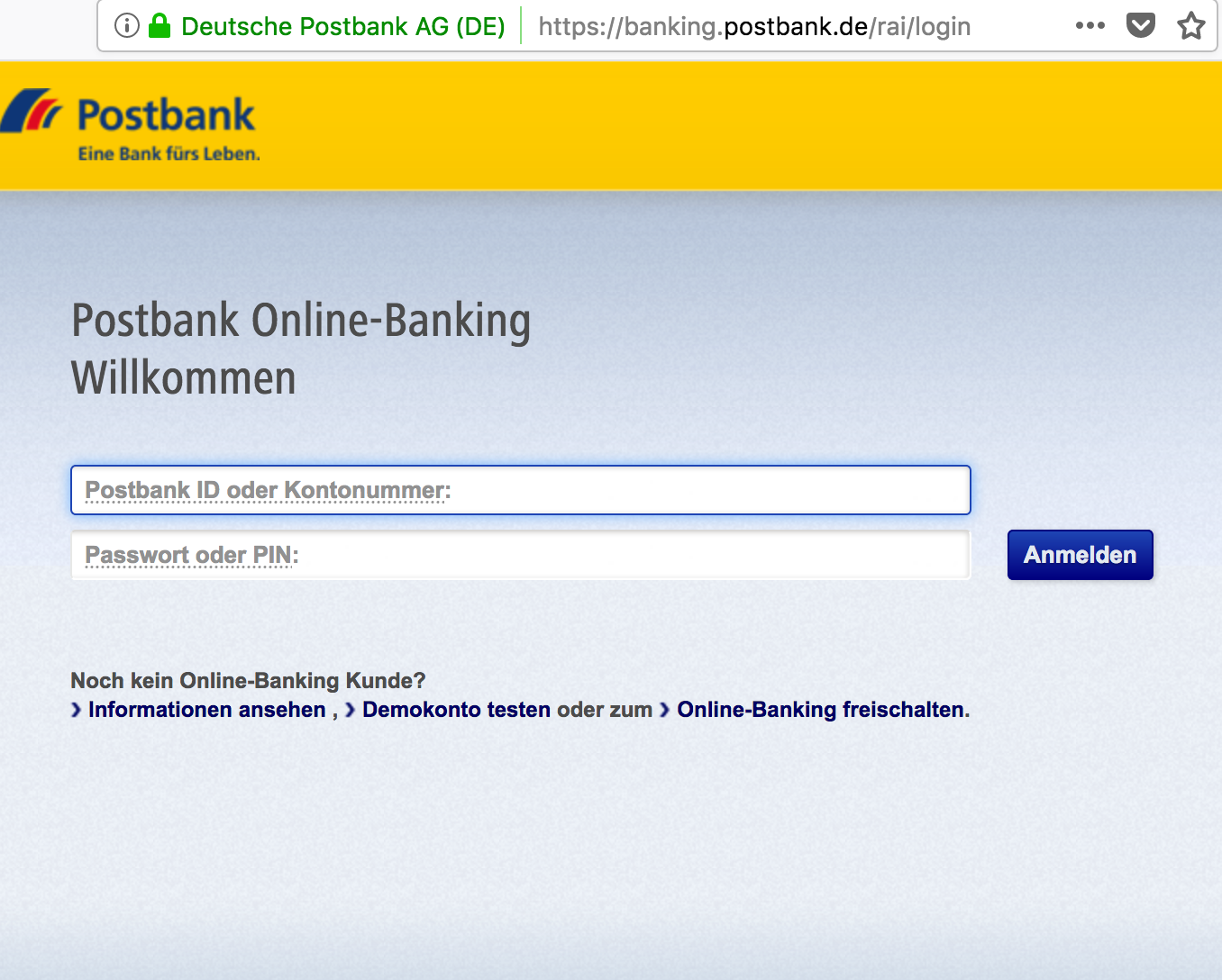Passwort Kreditkarten-Banking