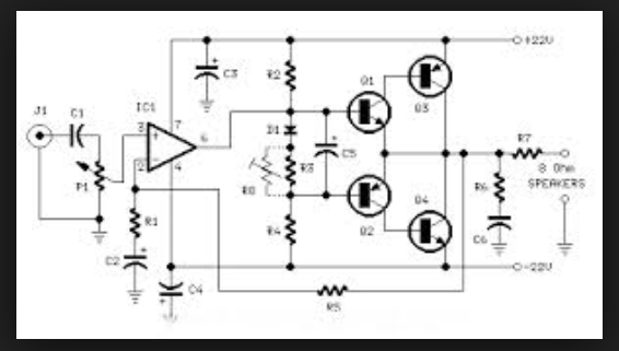 Wiring Schematic Diagram: 18 Watt RMS Amplifier Using TIP41|42