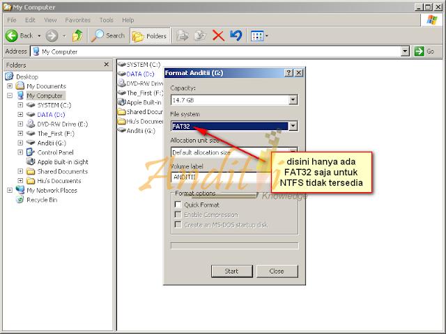 Cara Memunculkan Format NTFS di Flasdisk ketika ingin memformat_anditii.web.id