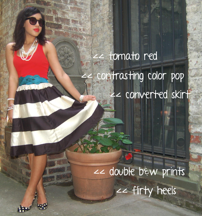striped skirt | Color Me Courtney