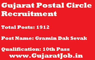 Gujarat Postal Circle Recruitment for 1912 Gramin Dak Sevak Vacancy 2017