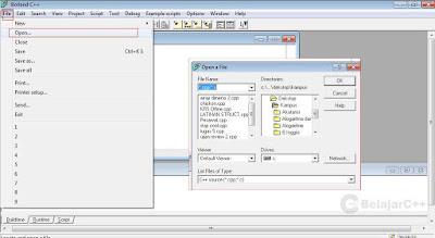 Membuka file - Pengertian dan Dasar-Dasar Penggunaan Borland C++ - belajar C++