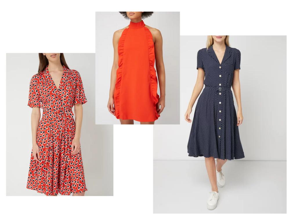 sukienka retro koszulowa grochy blog