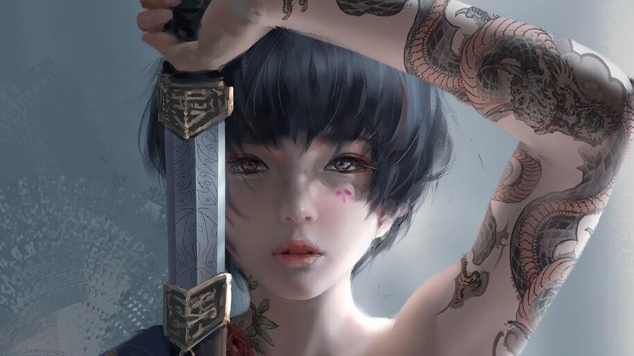 Fantasy, Girl, Tattoo, Warrior, Sword, 4K, #4.622