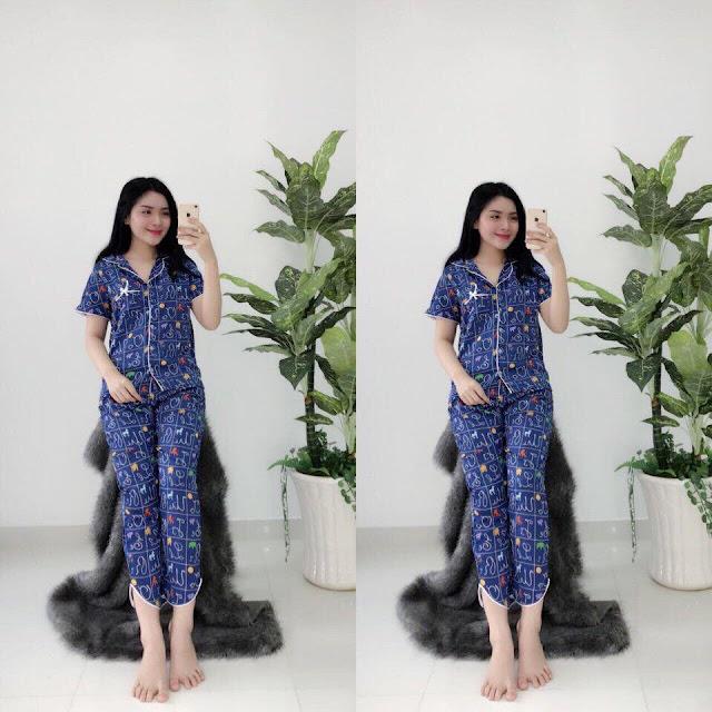 Đồ bộ tay ngắn quần dài Pijama satin