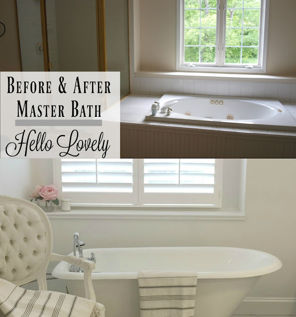 Banner for Before and After Master Bath Renovation for Hello Lovely Studio
