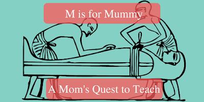 M is for Mummy; drawing of mummification process
