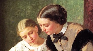"Detail of woman's and girl's hair, from ""The Lesson"" (1861) by Jules Trayer"