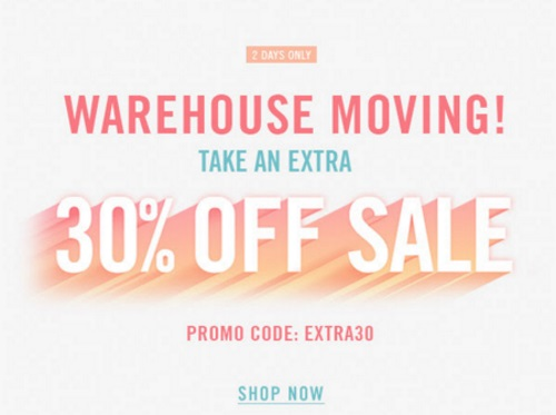 Forever 21 Warehouse Moving Sale Extra 30% Off Sale Promo Code