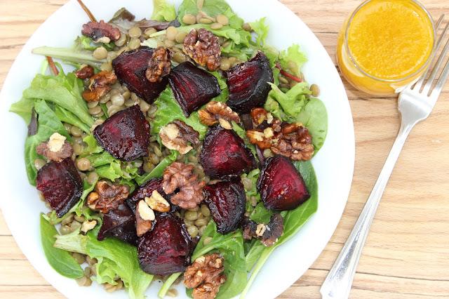 beetroot lentil and walnut salad with orange vinaigrette