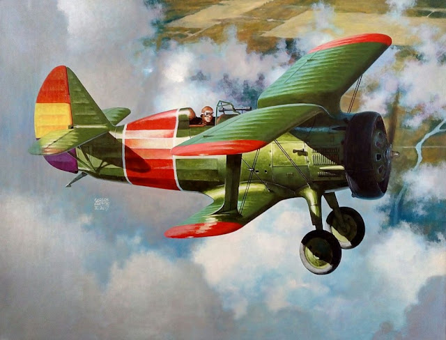 Polikárpov I-15 chato por Carlos Alonso Aviationart