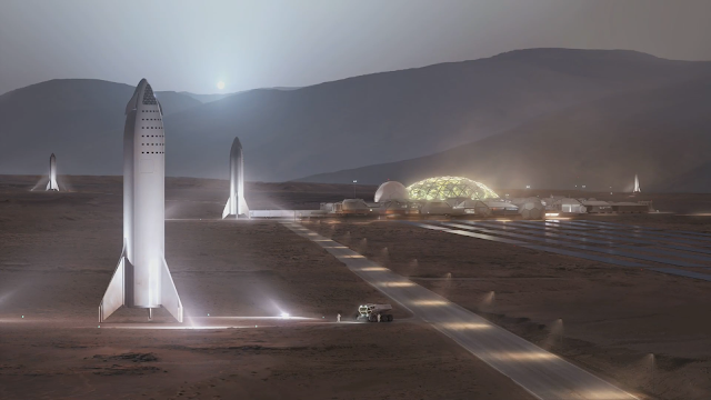 SpaceX Big Falcon Ships v2018 at Mars Base Alpha