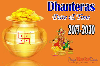 2017 to 2030 Dhanteras Puja Calendar in India