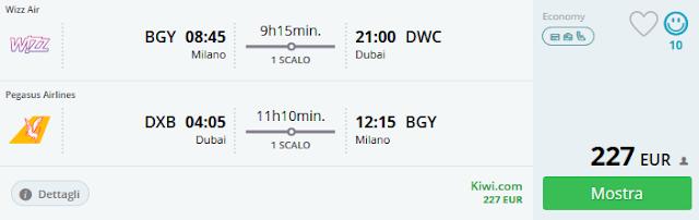 Milano (BGY) - Dubai a/r a 227 €