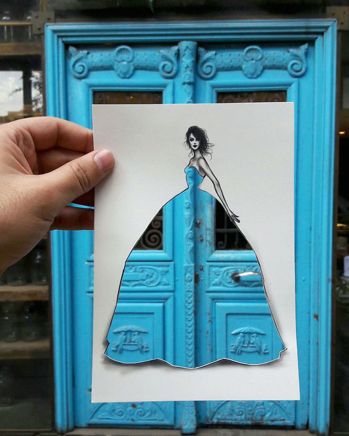 Fashion Illustrator Completes His Cut-Out Dresses With Clouds And Buildings