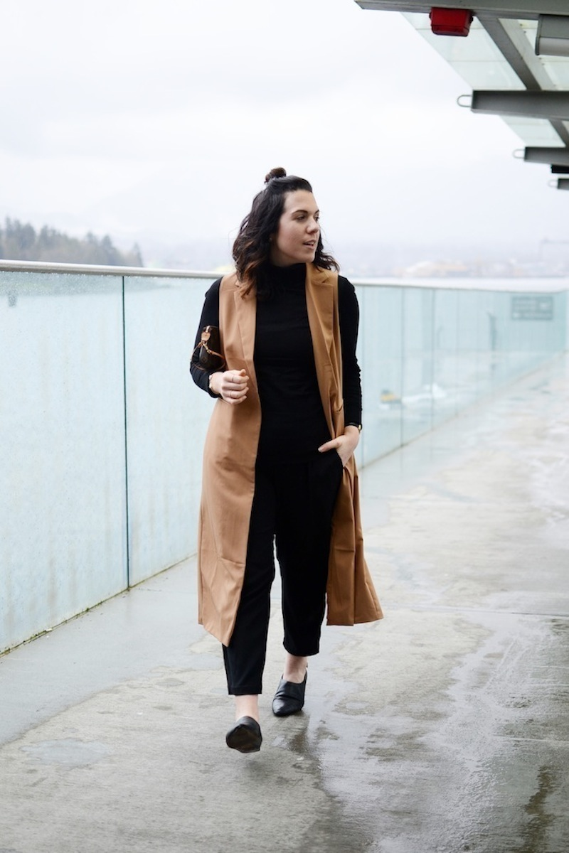 Chic spring outfit idea Forever 21 camel long vest Le Chateau turtleneck Vince trousers Vancouver blogger