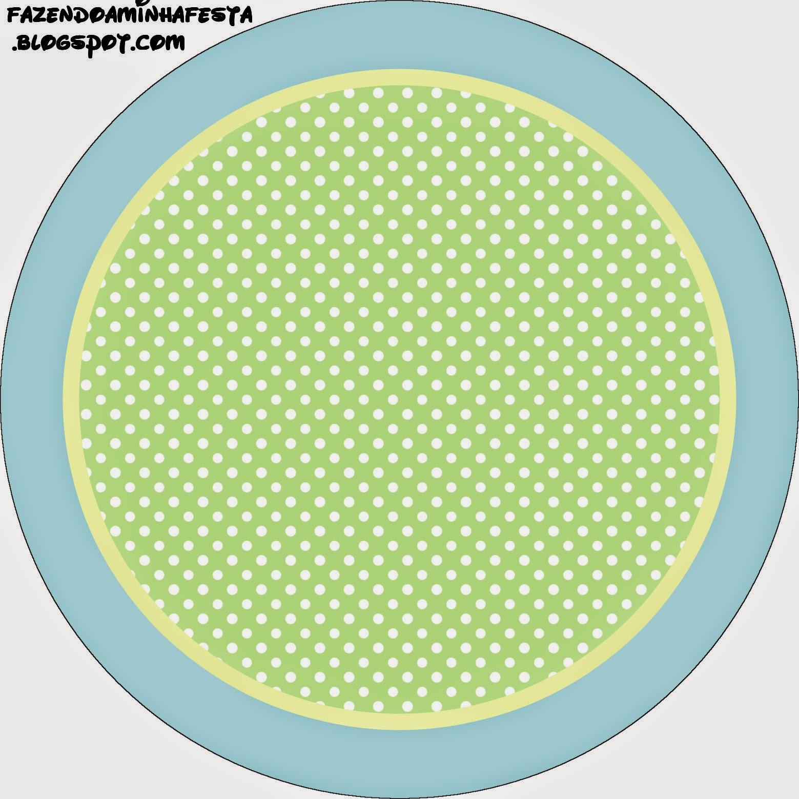 Verde y Celeste: Wrappers y Toppers para Cupcakes para Imprimir Gratis.