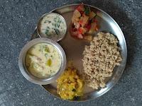 Ash gourd feast: Little millet rice, Ash gourd coconut milk more kulambu, Ash gourd kootu, Ash gourd mandi, Coconut butter milk