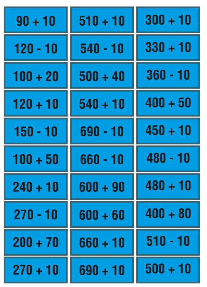 tarjetas de bingo con sumas y restas