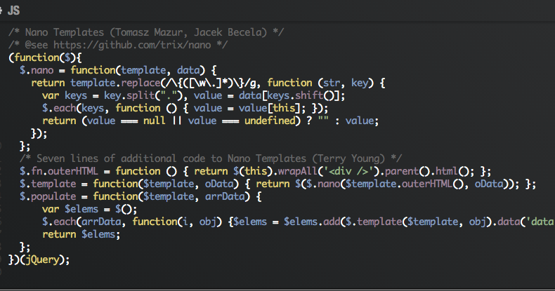My two cents to jQuery Nano Templates | Code Sniper - Terry