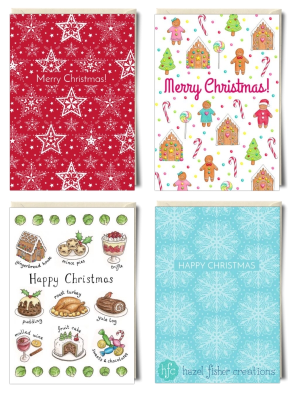 My Christmas card designs on Thortful Hazel Fisher Creations