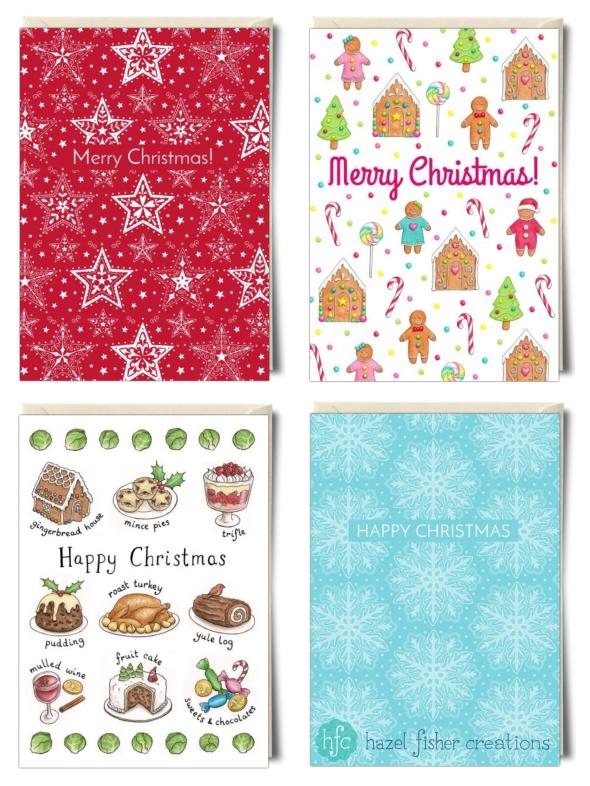 My Christmas card designs on Thortful Hazel Fisher Creations