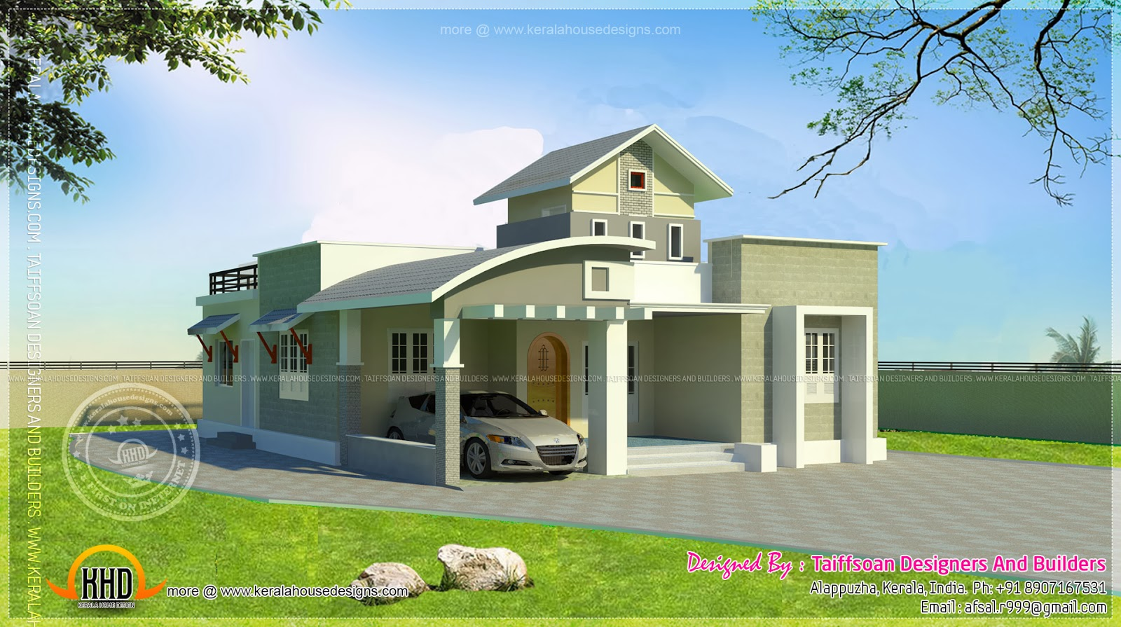 Single Floor Elevation Work : Bedroom single storied house kerala home design and