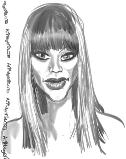 Tyra Banks caricature cartoon. Portrait drawing by caricaturist Artmagenta.