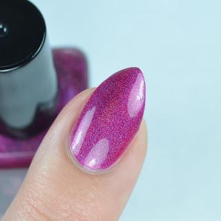 fuchsia holographic nail polish