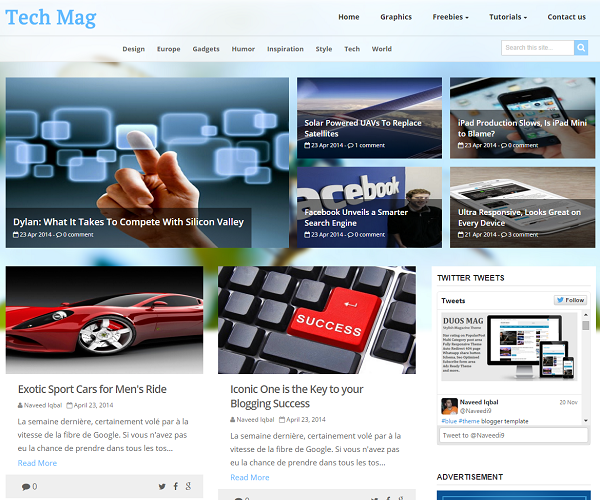 Tech mag is a magazine blogger template having a proper clean design to decrease bounce rate.