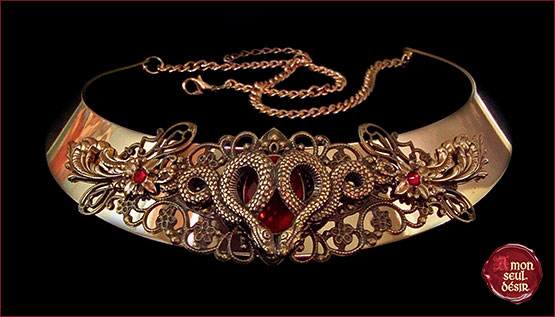 collier serpent bronze rouge medieval renaissance snake necklace mythical medusa gorgona torc torque jewelry