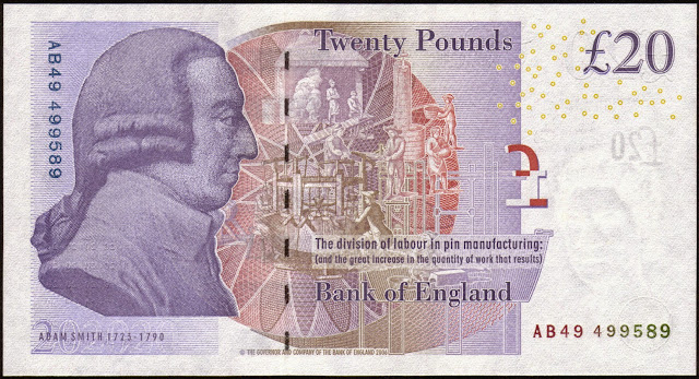 British Banknotes‎ 20 Pound Sterling note 2007 Adam Smith
