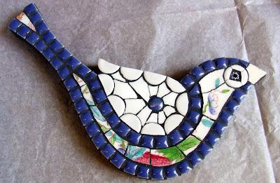 Handmade mosaic bluebird by Fiona Gurney