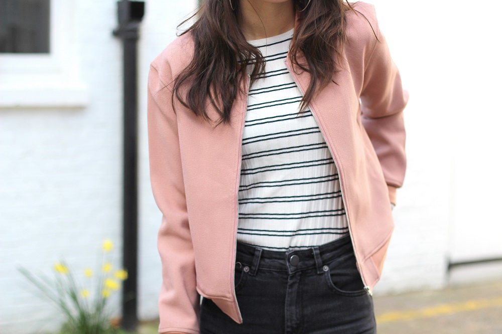 pink bomber jacket striped top