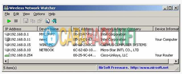wireless network watcher software untuk melihat pengguna jaringan kita