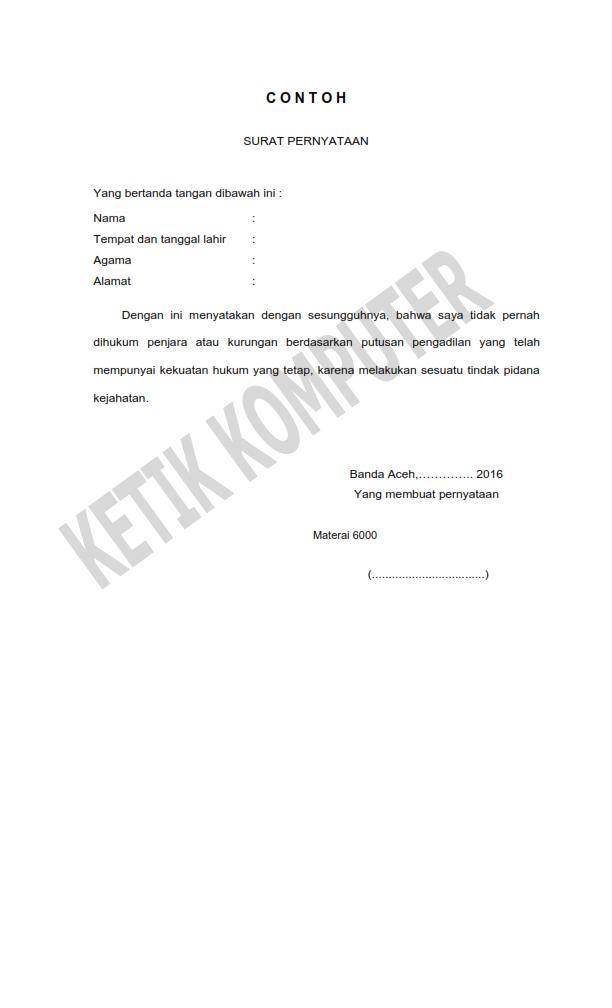 Surat Pernyataan Bebas Tindak Pidana