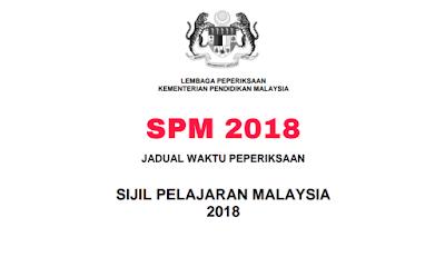 Jadual Peperiksaan SPM 2018 Sijil Pelajaran Malaysia