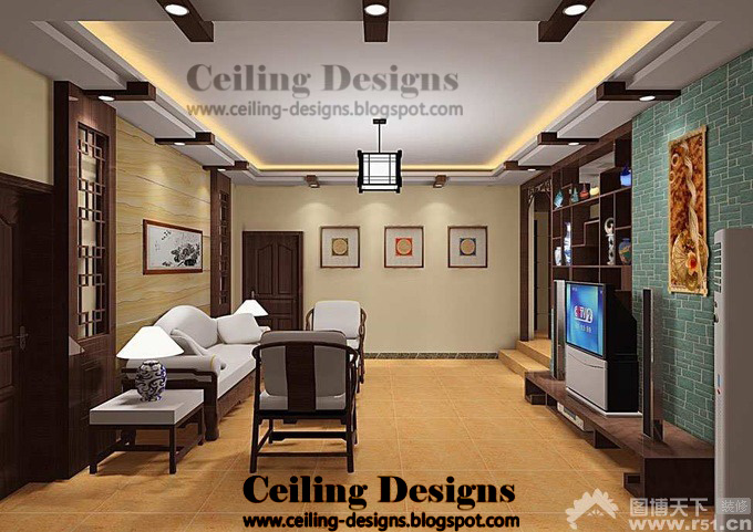 Rendering of easy and delicate European-style three-bedroom ... - Simple Ceiling Designs For Living Room