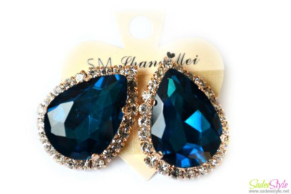 Teardrop-shaped Cut Edge Diamond Retro Stud Earrings Dark Blue