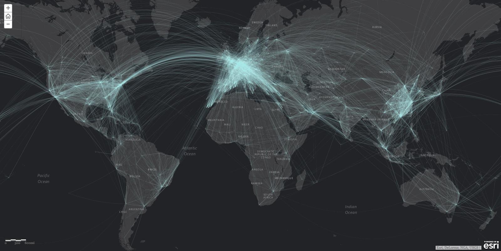 Data art: Global air traffic