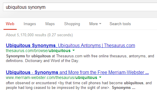 how to find synonyms in google docs