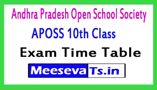 Andhra Pradesh Open School Society 10th Class Exam Time Table